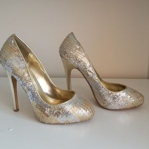 Silver and gold sequined heels